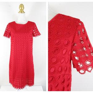 Talbots Red Circle Eyelet Overlay Shift Dress NWT